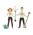 volunteers in sweater with hearts plant tree vector image