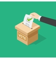 Voting man hand holding political ballot putting vector image vector image