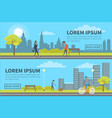 web banner of people spending time in urban park vector image vector image