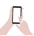 woman hands holding smartphone and pointing vector image
