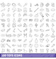 100 toys icons set outline style vector image vector image