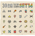 30 Colorful Doodle Icons Set 14 vector image vector image