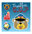 animal traffic cop cartoon with patrol car logo vector image