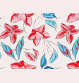 botanical summer orchid red blue print art vector image vector image