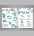 brochure set with photo and video design in doodle vector image vector image