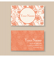 business card floral orange vector image vector image