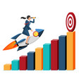 business woman flying on rocket on graph vector image vector image