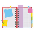 color open notepad on rings with blank sheets and vector image vector image