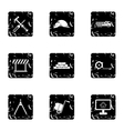 Construction tools icons set grunge style vector image vector image