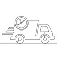 continuous line drawing delivery concept truck vector image