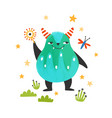 cute friendly monster alien or beast lovely vector image vector image