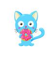 cute funny cartoon cat eating vector image