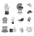 day of patriot holiday monochrome icons in set vector image vector image