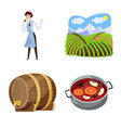 design grape and winery icon collection vector image vector image