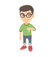 disappointed caucasian boy with thumb down vector image vector image