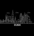 dubai silhouette skyline united arab emirates vector image vector image