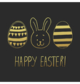 easter greeting with eggs and bunny face dark vector image vector image