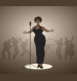 elegant curvy and sexy jazz singer woman singing vector image vector image
