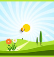 empty meadow with flowers and trees vector image vector image