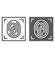 fingerprint line and glyph icon id and security vector image vector image