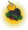 fire iron heart vector image vector image