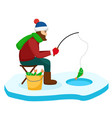 fisherman pulls the fish out of the hole on the vector image