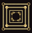 golden square chains pattern on black background vector image vector image