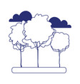 greenery trees forest nature clouds isolated icon vector image