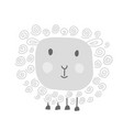 handdraw funny doodle white sheep sketch vector image