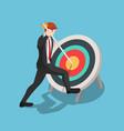 isometric businessman pinned arrow at center vector image vector image