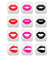 Lips kiss red pink and black glossy buttons vector image