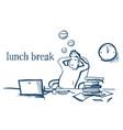 lunch break businessman hands behind head relaxing vector image vector image