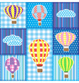 Patchwork with hot air balloons vector image vector image