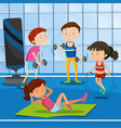 people work out at the gym vector image vector image