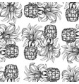 pineapple seamless pattern hand drawn tropical vector image vector image