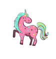 pink unicorn with colorful hearts vector image vector image