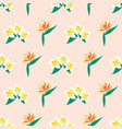plumeria and bird paradise flowers seamless vector image