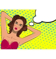Pop art pretty woman sunbathing vector image vector image