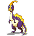 Purple parasaurolophus standing on two feet vector image vector image