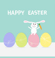 rabbit with carrot sitting on painting egg shell vector image vector image