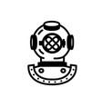 retro diving helmet icon line vector image