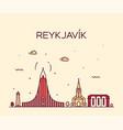 reykjavik city skyline iceland linear style vector image