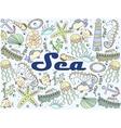 Sea line art design vector image vector image
