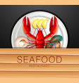 set of seafood on plate vector image vector image