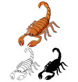 set scorpion cartoon vector image