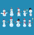 set snowmans in different poses with top hat vector image