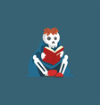 skeleton sitting on floor and reading book dead vector image vector image
