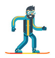 snowboard skate happy smiling man geek hipster vector image
