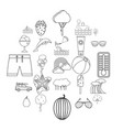 summer vacation icons set outline style vector image vector image