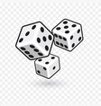 three white dices isolated on transparent vector image vector image